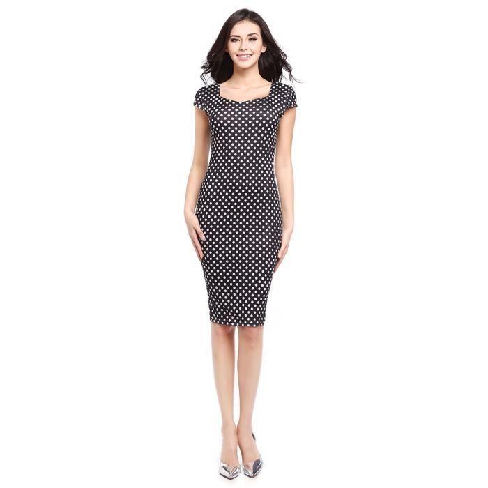Robe femme gaine à manches courtes place Collar OL robe de style 3262116