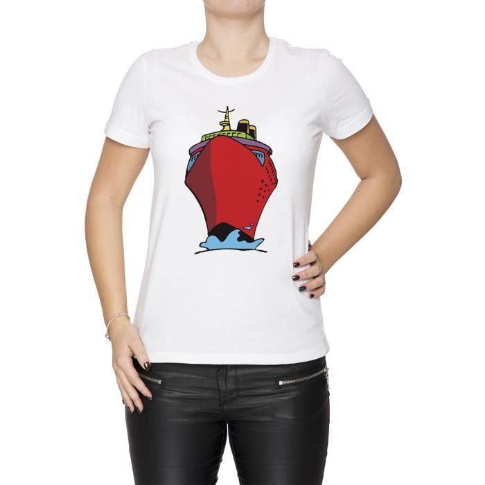 Tee Shirt Dessin Animé Grand Rouge Navire Femme Cou D équipage