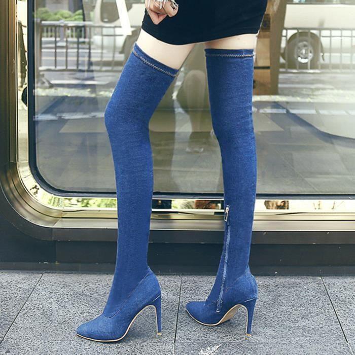Bottes De Femme Au love3231 Chaussures Hauts Genou Bleu Hautes Talons Cowboy Sur Pour Beguinstore Les q0Aapxnwtw