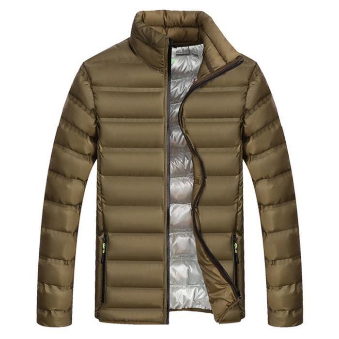 Pure Épaissie Verte Armée Mode Hommes Coton Color Outwear Zipper D'hiver Manteau Stand Collier qfHtg