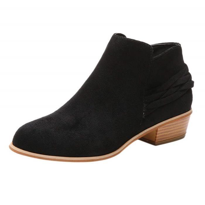 0c0ea12b56a3d2 Bottillons en Daim,Boots Femmes Plates Basse Cuir Bottes Chelsea Chic  Compensées Grande Taille Talon Chaussures 35-43