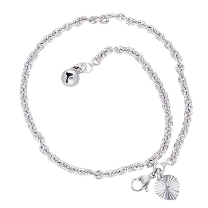 SF Bijoux Chaîne Bracelet Cheville Pampilles Coeur Or Jaune GF 24 Carats
