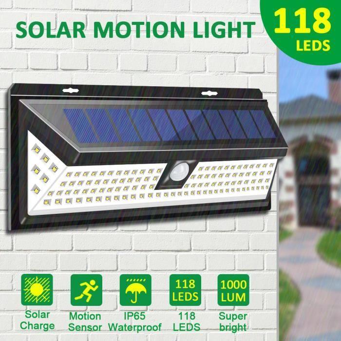 TEMPSA Lampe Solaire Applique Murale 118 LED Avec Detecteur IP65 ...