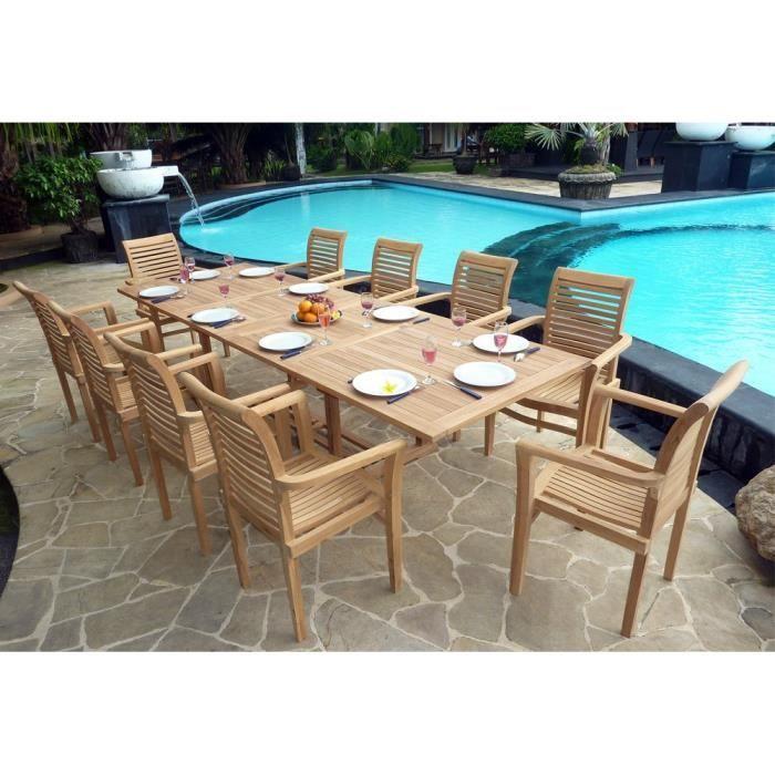 Salon de Jardin en Teck Table 3 mètres 10 fauteuils empilables ...