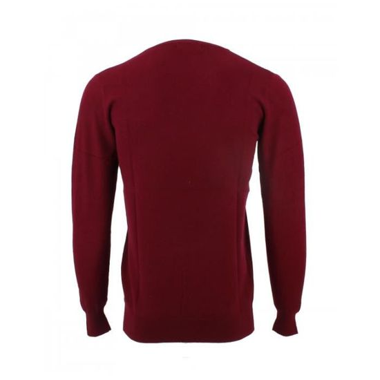 Pull col V Yves Enzo Laine Cachemire Bordeaux Rouge - Achat   Vente pull -  Cdiscount 4b5e45fae46b