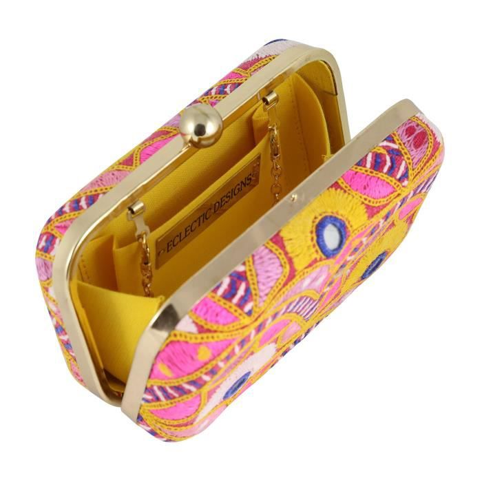 à poche W5TKC M Femmes avec sac main une beige sac gujarati Vintage Fantaisie Tissu couleur main dembrayage à et Boîte xaH1A0
