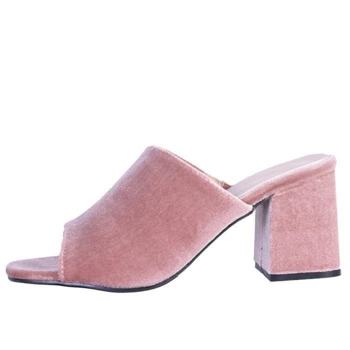 Catherine Malandrino Block Heel Velvet Slide Sandals WQZTZ Taille-37 1-2