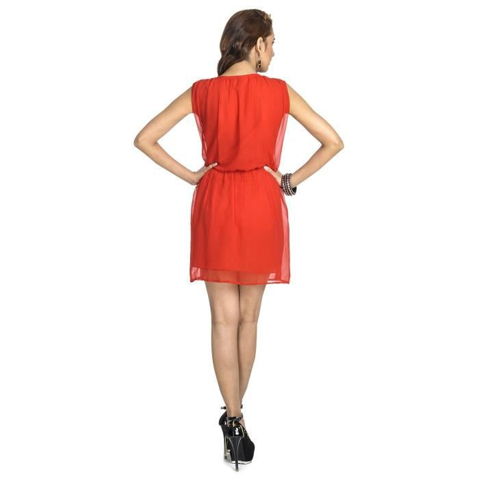Womens Red Party Dress LM0YL Taille-38