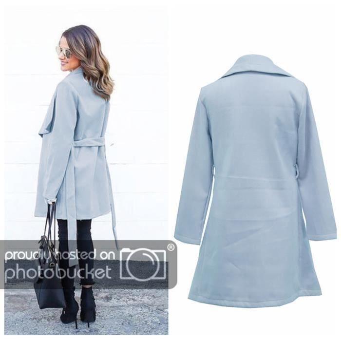 Outwear Long Col Plus Funmoon Femmes Manteau Jacket Turn Bandge Open down Front Épais Solid YSSUvRWpT