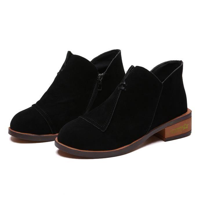 Femmes Benjanies Solides Bottes Automne Simplesnoir Martin Roman Court Cheville Chaussures qzAUH7rq