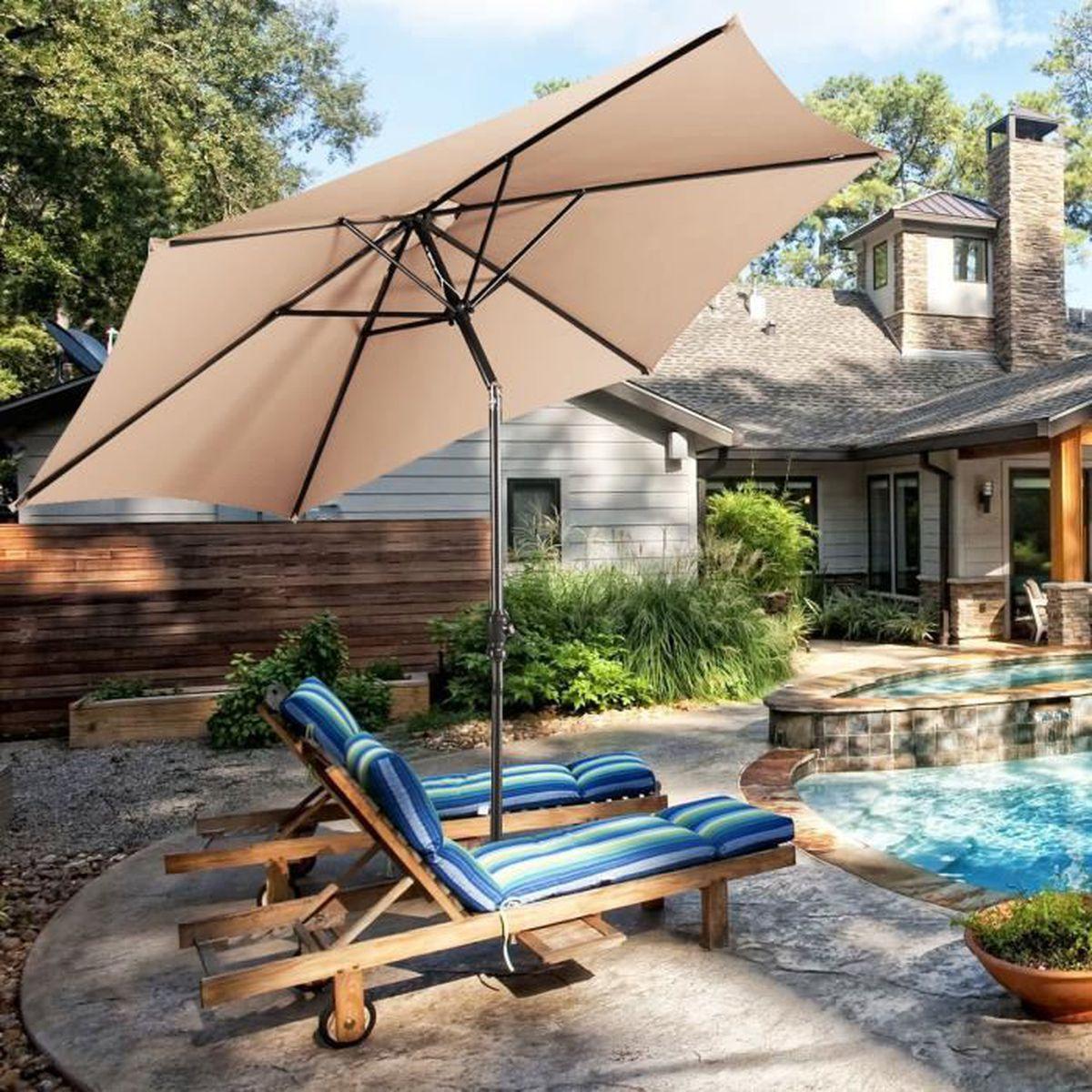 affordable parasol inclinable diamtre m en acier patio with table manivelle maison du monde. Black Bedroom Furniture Sets. Home Design Ideas