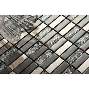 CARRELAGE - PAREMENT Verre et acier inoxydable mosaïque carrelage en no