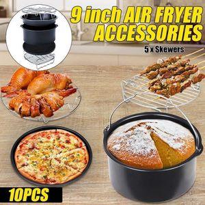 FRITEUSE ELECTRIQUE 10pcs Accessoires Air Friteuse 9 Inch Kit Pièces T