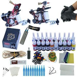 TATOO - BIJOU DE CORPS Kit Tatouage 2 Pistolet Machine À Tatouer 20 pcs E