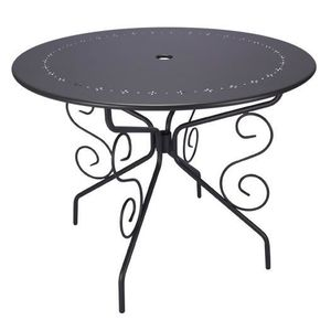 TABLE DE JARDIN RONDE D95CM ROMANTIQUE GRIS ANTHRACITE 4 PLACES ...