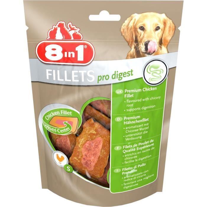 8in1 Filets de poulet séchés Pro Digest enrichis en poudre de racine de chicorée - Taille S - Pour Chien - Carton de 8 sachets