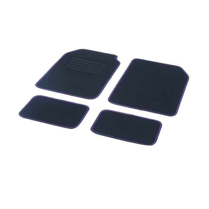 DBS Jeu de 4 Tapis universels - Moquette 450g/m2 - Ganse bicolore noir-violet