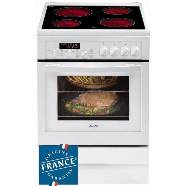 SAUTER SCV1061W - Cuisinière table vitrocéramique-4 foyers-10283W-Four électrique multifonction-Pyrolyse-50,4L-A-L60xH85cm-Blanc