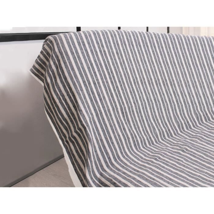 SOLEIL D'OCRE Jeté de canapé cotonnade - 170x250 cm - AnthraciteJETEE DE LIT - BOUTIS - COUVRE-LIT