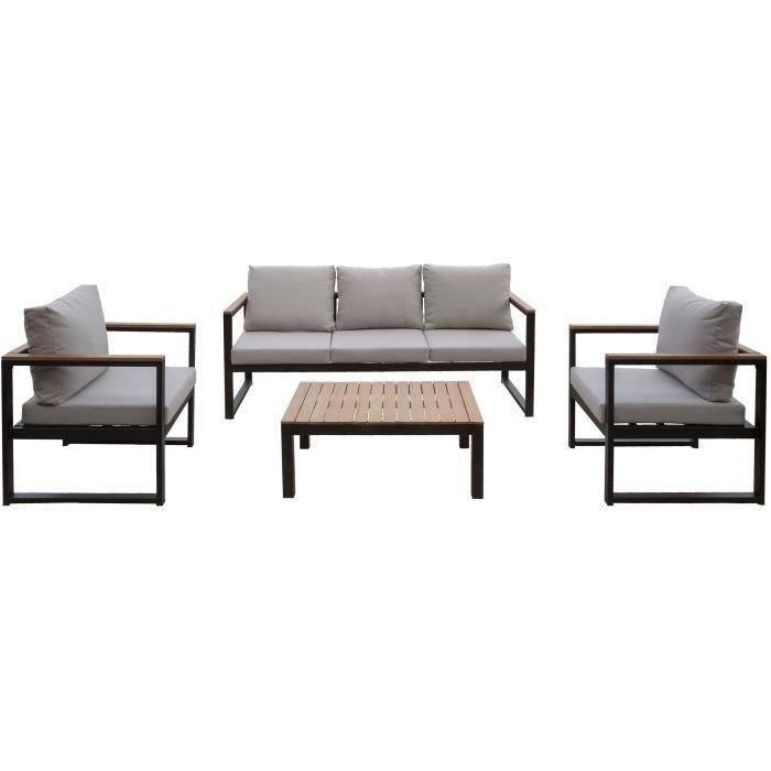 Salon de jardin en métal et bois deucalyptus 5 personnes alao noir et bois avec coussins gris clairs