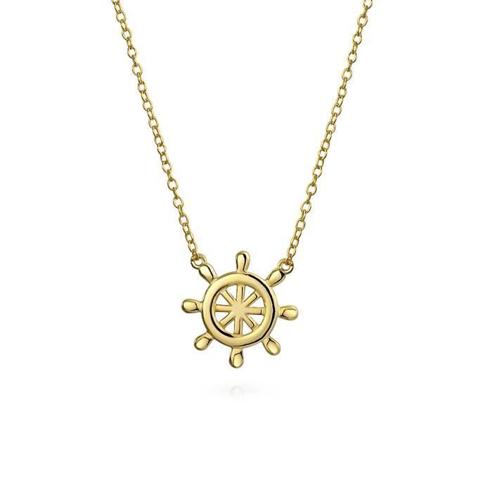 Bling Jewelry Argent 925 plaqué or Collier nautique Bateau volant 18in