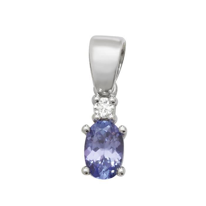 Pendentif Femme Or Blanc 375-1000 et Diamant avec Tanzanite - 16mm*5mm