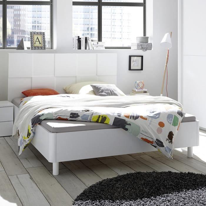 STRUCTURE DE LIT Lit 160 cm design blanc laqué TIAVANO Blanc L 183