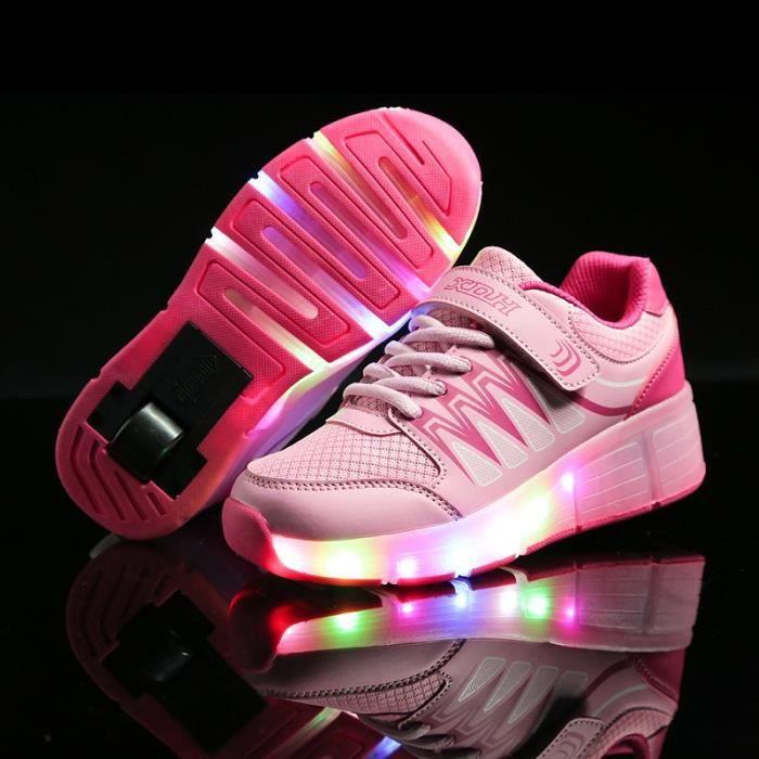 Enfants Chaussures heelys USE Charge Sneaker avec une roue LED lumineux clignotant patins enfants garçon fille chaussures - Rose