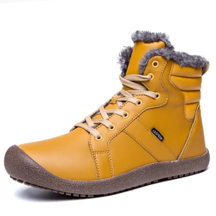 Waterproof Leather Fur Lined Winter Snow Boots Shoes PLL2K Taille-38 1-2