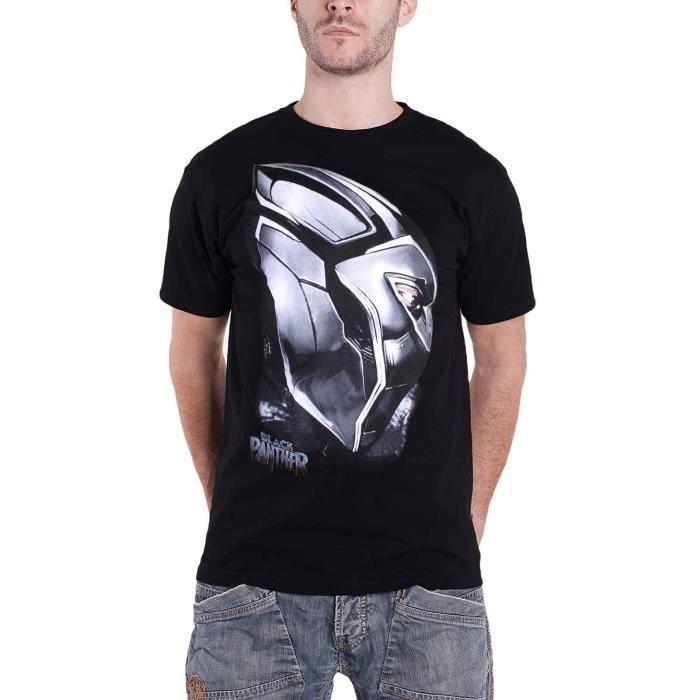 Noir Panther T Shirt Metal Mask Profile Logo