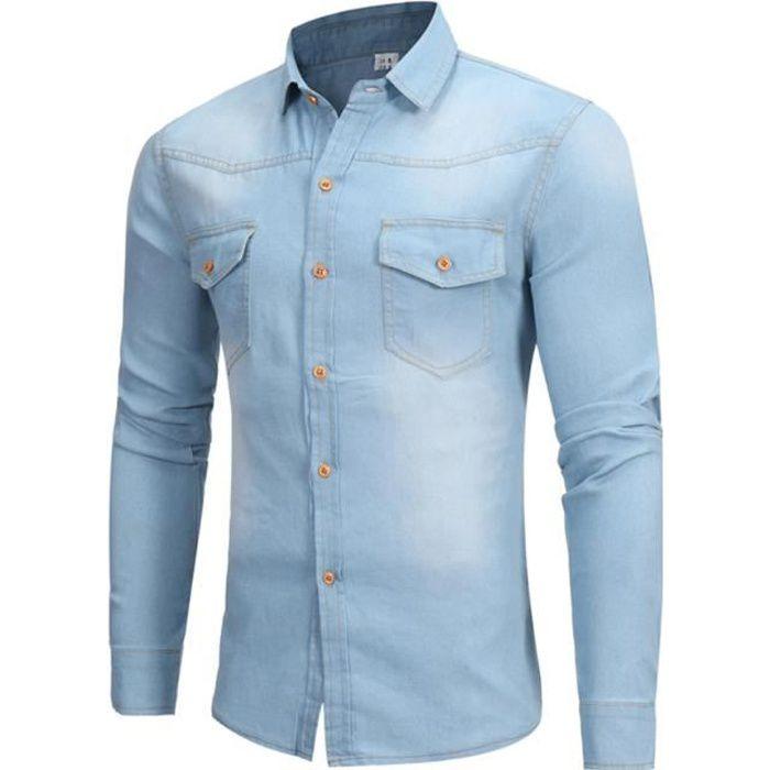 a109ea78847 Chemise homme en jean slim col roulé manches longues Bleu clair ...