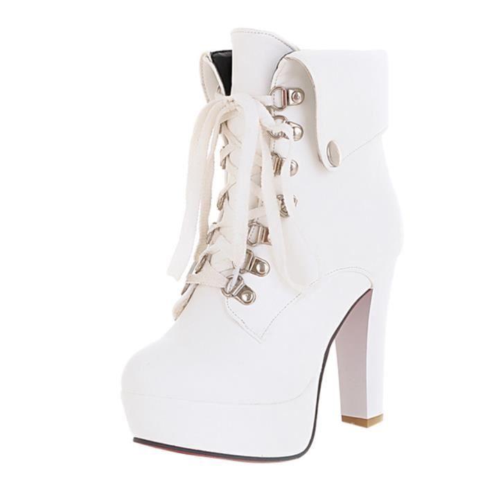 8b0f4a50c Mode Femme Plate-forme sexy chaussures cheville talon haut à lacets bout  rond Bottes courtes Talkwemot1759
