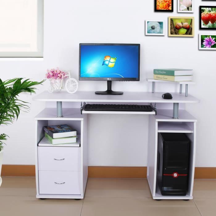 Songmics® Bureau Informatique Meuble Table De L'Ordinateur Avec 2