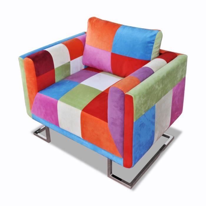 fauteuil style patchwork multicolore cubique avec pieds. Black Bedroom Furniture Sets. Home Design Ideas