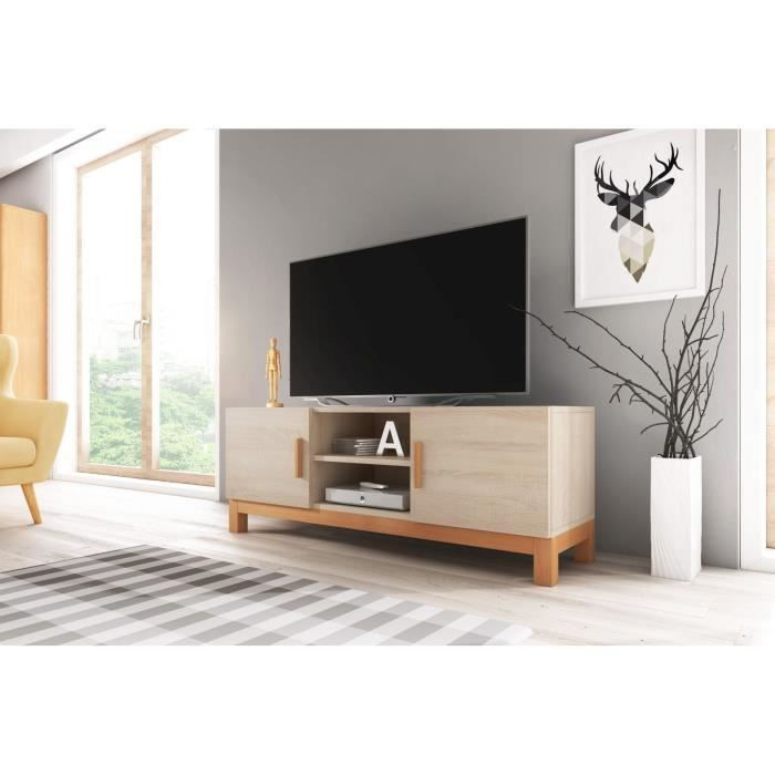 Norge Meuble TV style scandinave coloris chêne Sonoma - Achat ...