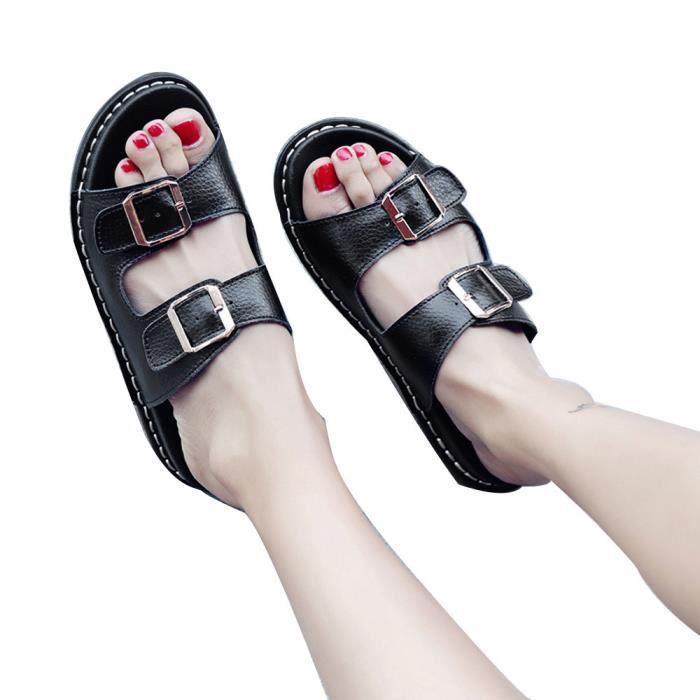 Bout Femmes 7614 Ouvert Casual Slide Cuir Mode Pantoufles En xe Chic Plates sur Noir Sandales A5q5FCwx