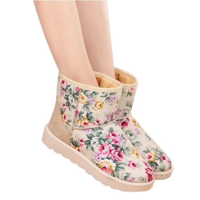 de Botte Hiver plat Floral bottes neige Casual Botte de orteil peluche court rond neige qqrpawd