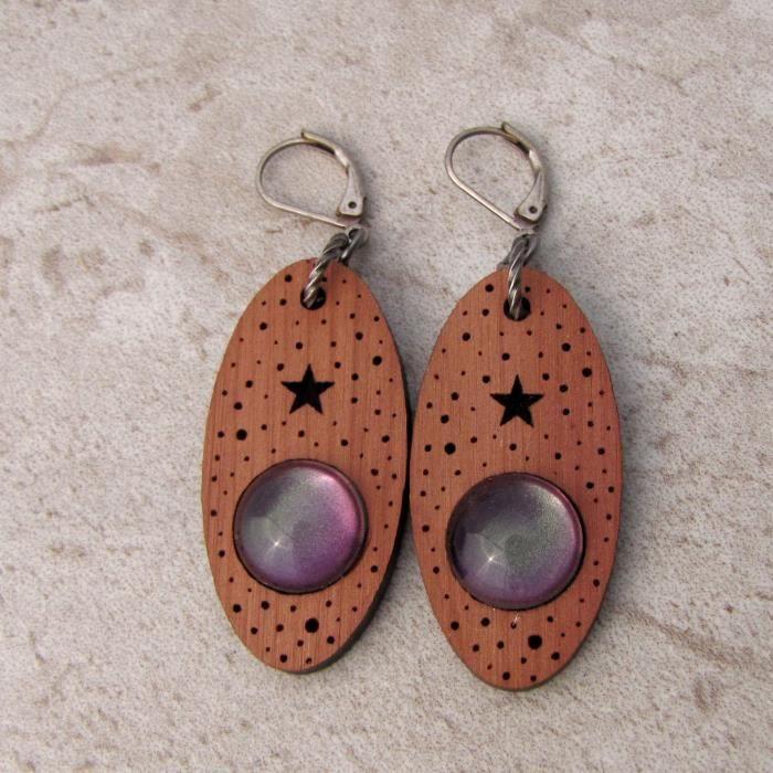 Femmes Lune et étoile en bois véritable Dangle Boucles doreilles ATC7R