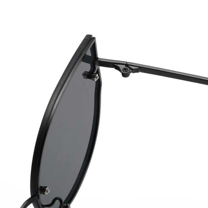 Femmes Couleurs Miroir Vintage oeil de chat style rétro de la marque classique Lunettes de soleilnoir-LJL70418134BK_1234