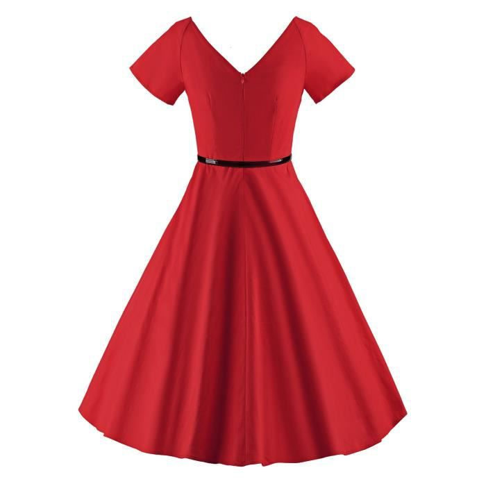 Vintage Evening 46 Rockabilly Swing neck 1950s 2AMT03 Dress V Taille Party Womens FtAYw