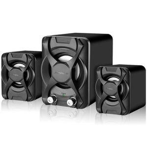 ENCEINTES ORDINATEUR Double Subwoofer Haut-parleur mode Hi-fi 3W Caisso