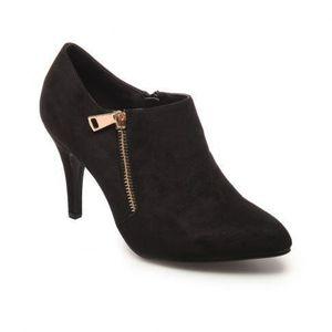 BOTTINE Low boots simili daim zip doré noir