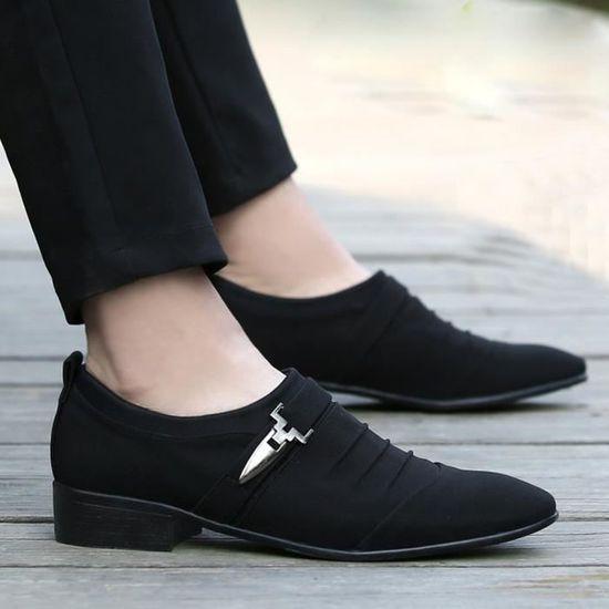 De Toile Formelles Mode D'affaires Noir Hommes Pointu Casual Chaussures Toe wU7wqTfX