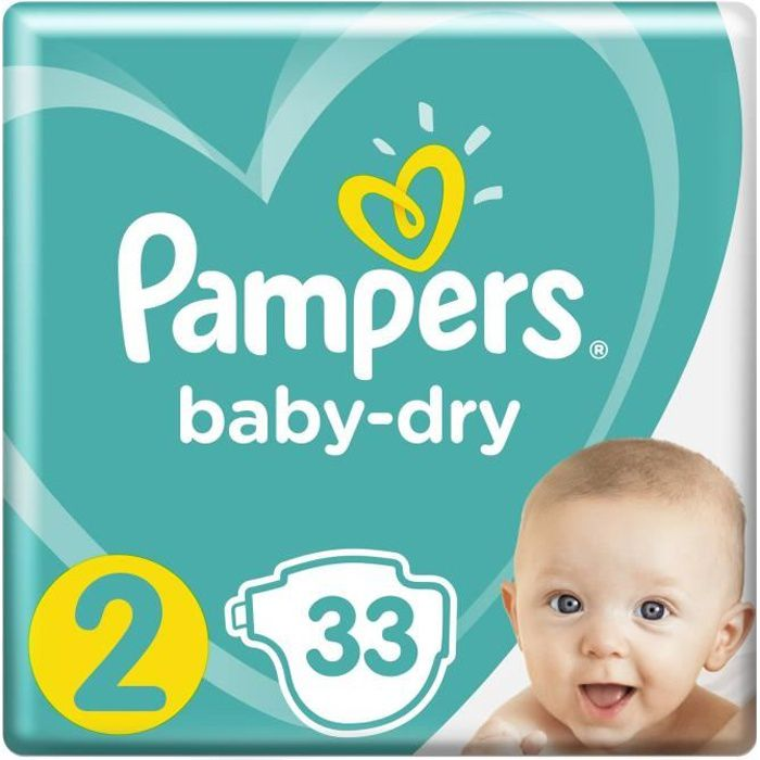 Pampers Baby Dry Taille 2 4 8 Kg 33 Couches Blanc Achat