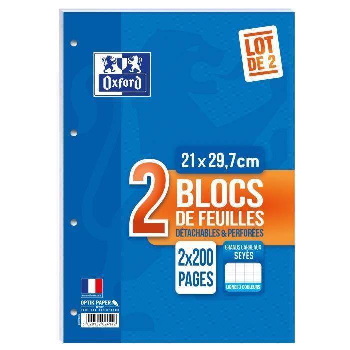 OXFORD Lot de 2 blocs de feuilles collés côte perforés 200 pages seyès - 90g (Lot de 3)