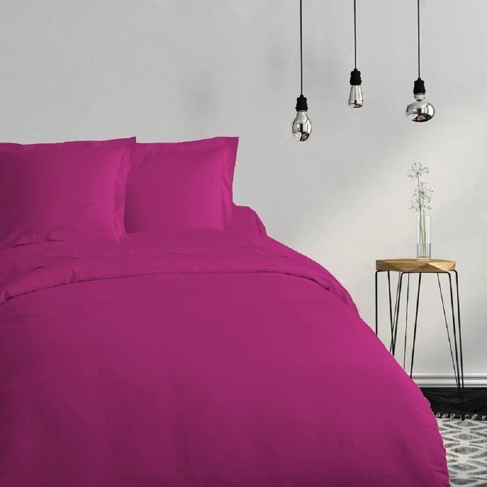 Matière : 100% coton 57 fils - Dimensions : 140x200 cm - Coloris : violetHOUSSE DE COUETTE