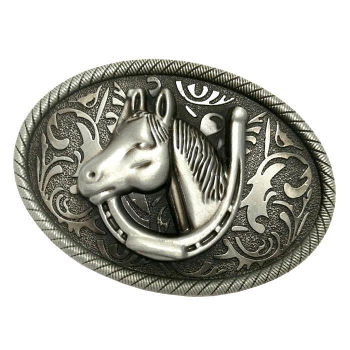 hommes arabesque cheval boucle de ceinture rodéo western cowboy cuir  ceinture argent 7cdec49beb2