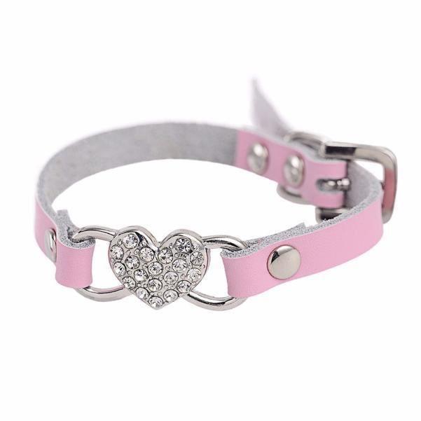 Réglable Strass Coeur De Pêche En Cuir Pet Puppy Collier Pour Chien Pk - Xxs Wong66499