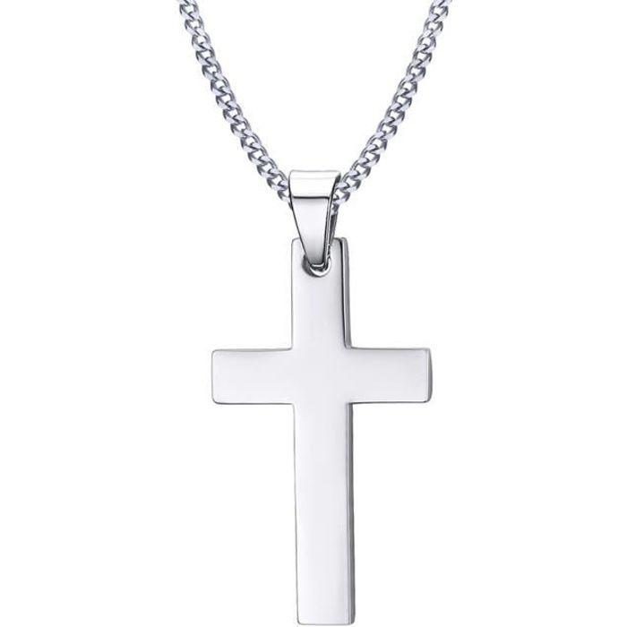 1e2527b8e74 Pendentif Croix Collier Homme Religieux Crucifix Acier Inoxydable pour  Homme et Femme Argent