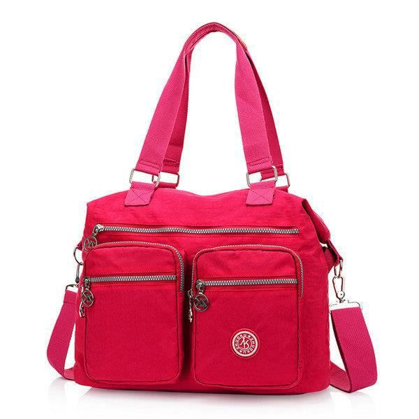 SBBKO2451Femmes Multi Front Pockets Tote Sacs à main Casual Sacs bandoulière Light Waterproof Crossbody Bags Rose rouge